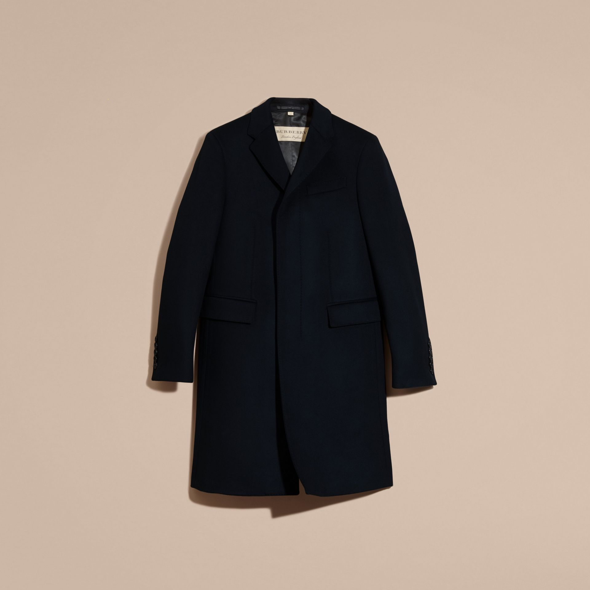 Navy Wool Cashmere Tailored Coat Navy - gallery image 4