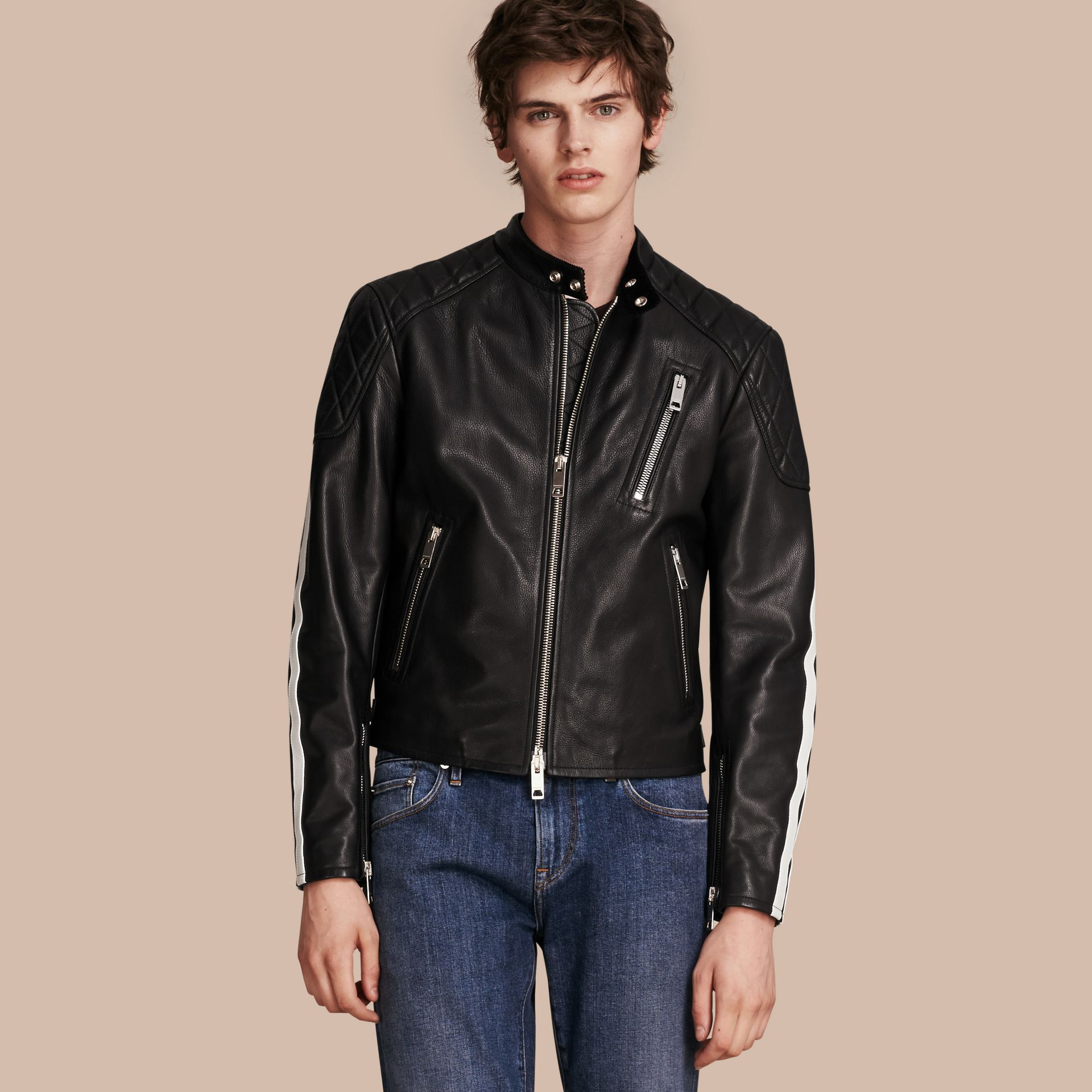 Black Stripe Detail Leather Jacket - gallery image 1