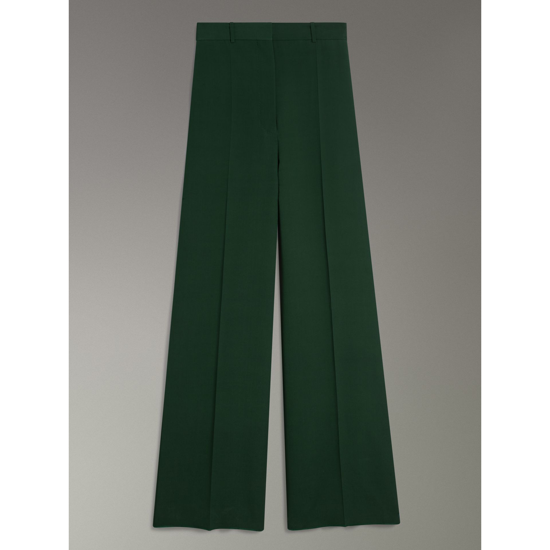 Silk Wool High-waisted Trousers in Dark Forest Green - Women | Burberry Canada - gallery image 3