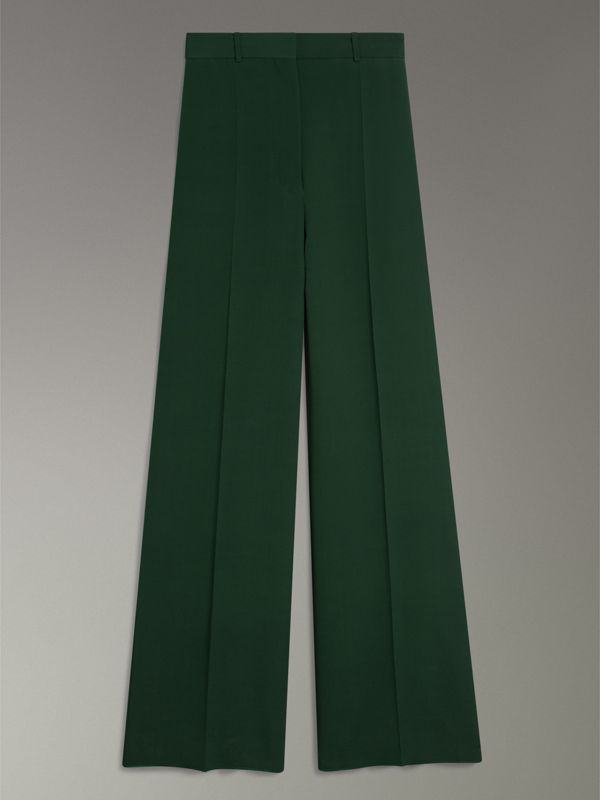 Silk Wool High-waisted Trousers in Dark Forest Green - Women | Burberry - cell image 3