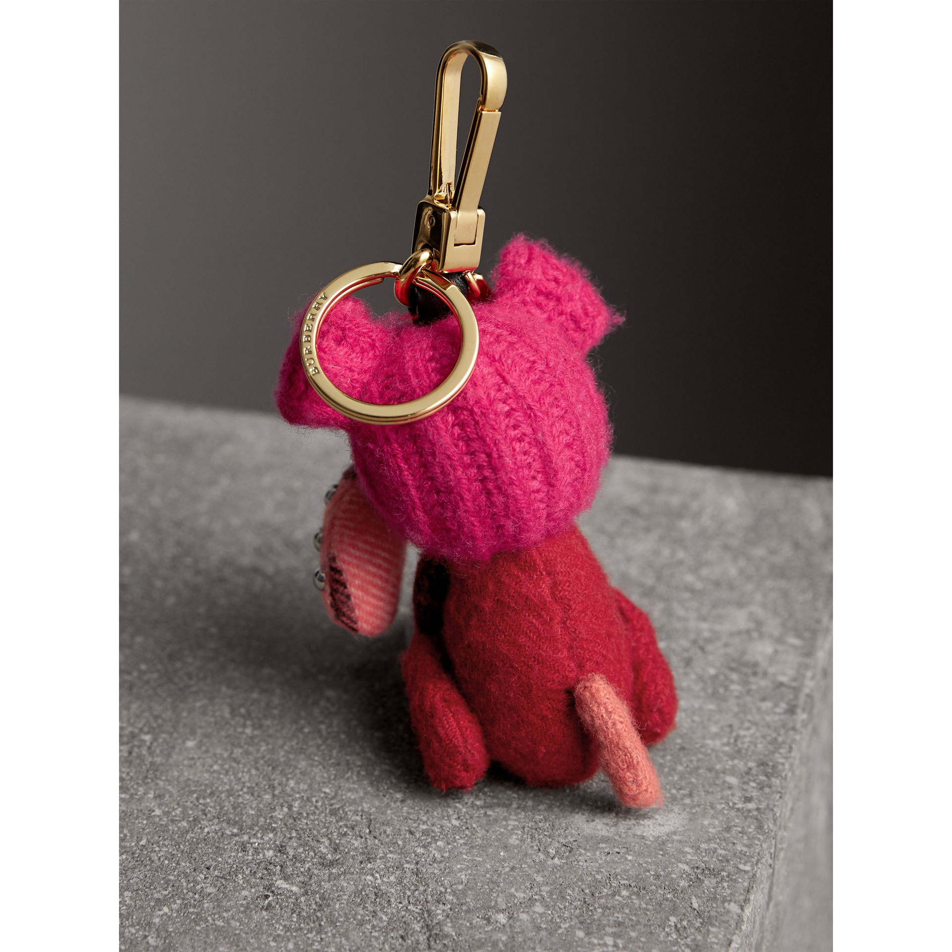Seymour The Bull Dog Cashmere Charm in Parade Red | Burberry Australia - gallery image 3