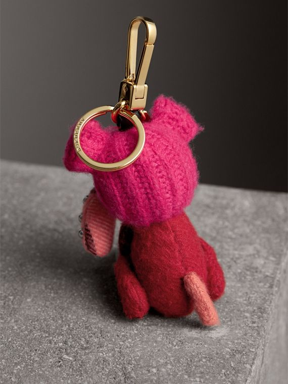 Seymour The Bull Dog Cashmere Charm in Parade Red | Burberry Australia - cell image 3