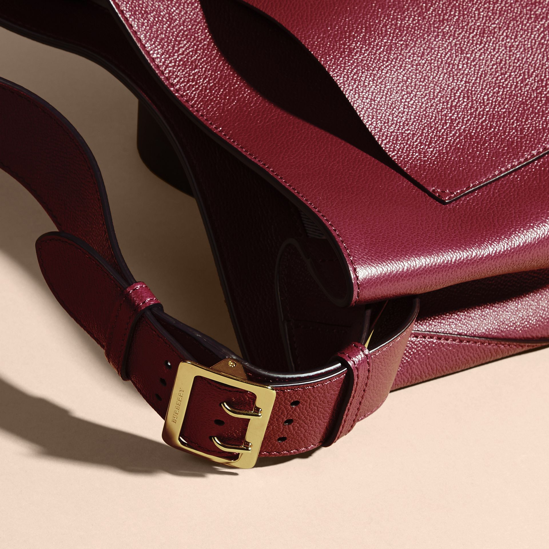 Textured Leather Shoulder Bag in Dark Plum - gallery image 2