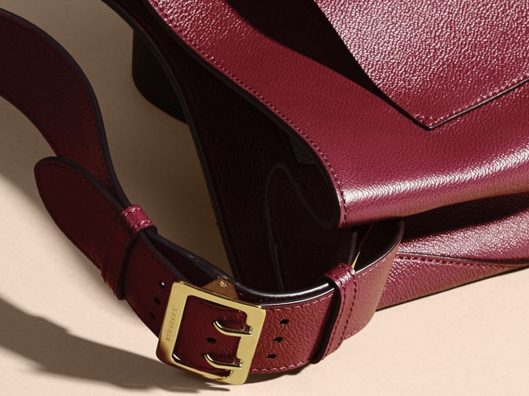 Textured Leather Shoulder Bag in Dark Plum - cell image 1