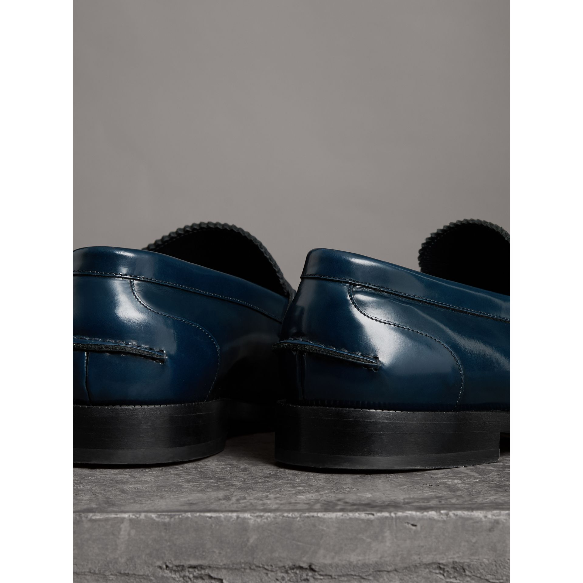 Kiltie Fringe Leather Loafers in Navy - Men | Burberry - gallery image 3
