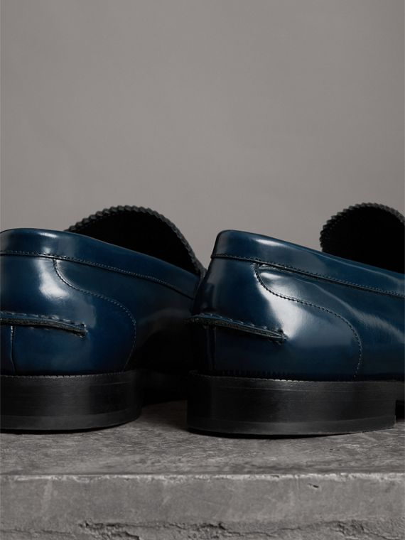 Kiltie Fringe Leather Loafers in Navy - Men | Burberry - cell image 3