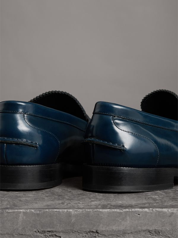 Kiltie Fringe Leather Loafers in Navy - Men | Burberry Singapore - cell image 3