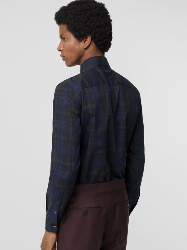 Slim Fit Tartan Cotton Shirt in Bright Navy - Men | Burberry - cell image 2