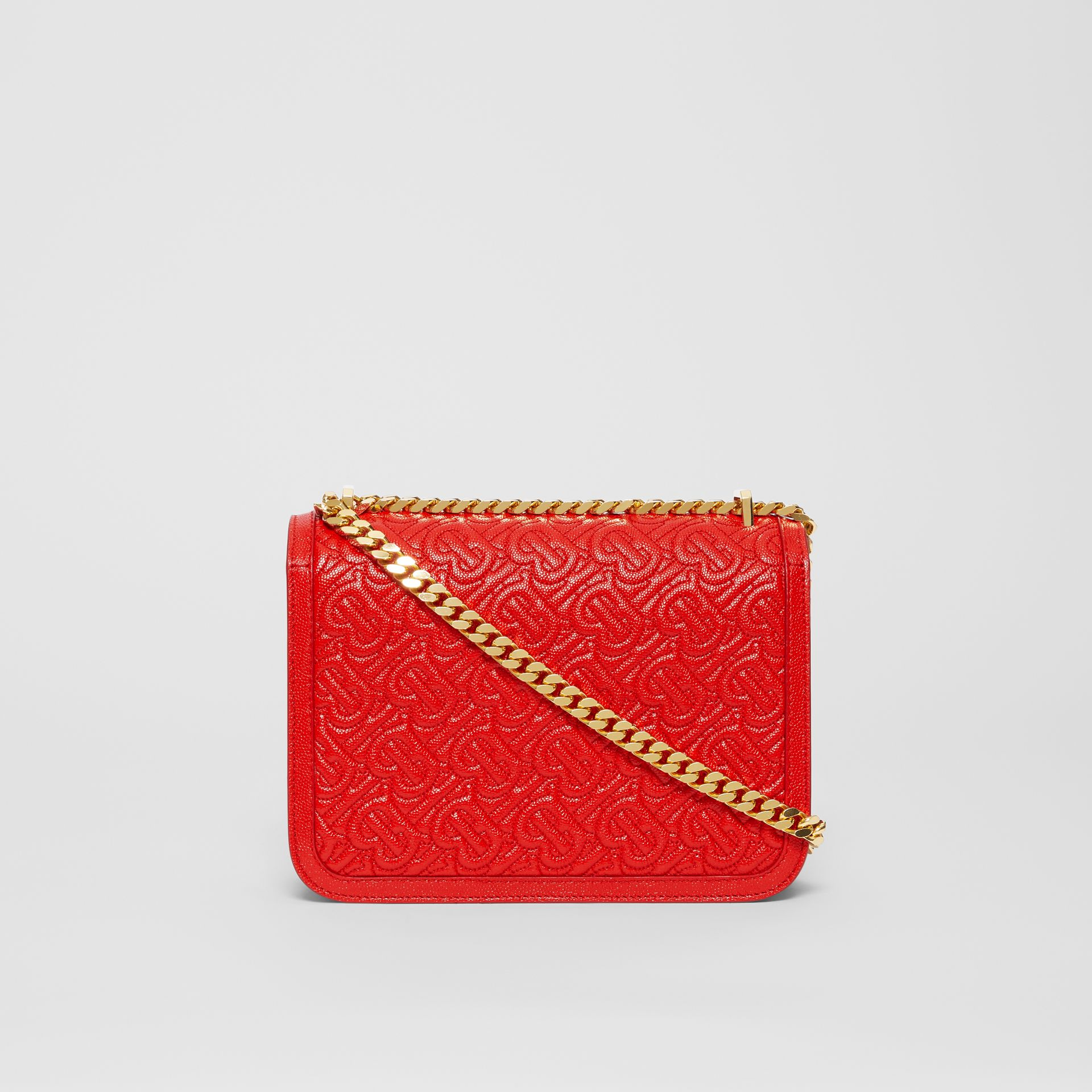 Small Quilted Monogram Leather TB Bag in Bright Red - Women | Burberry United States - gallery image 7