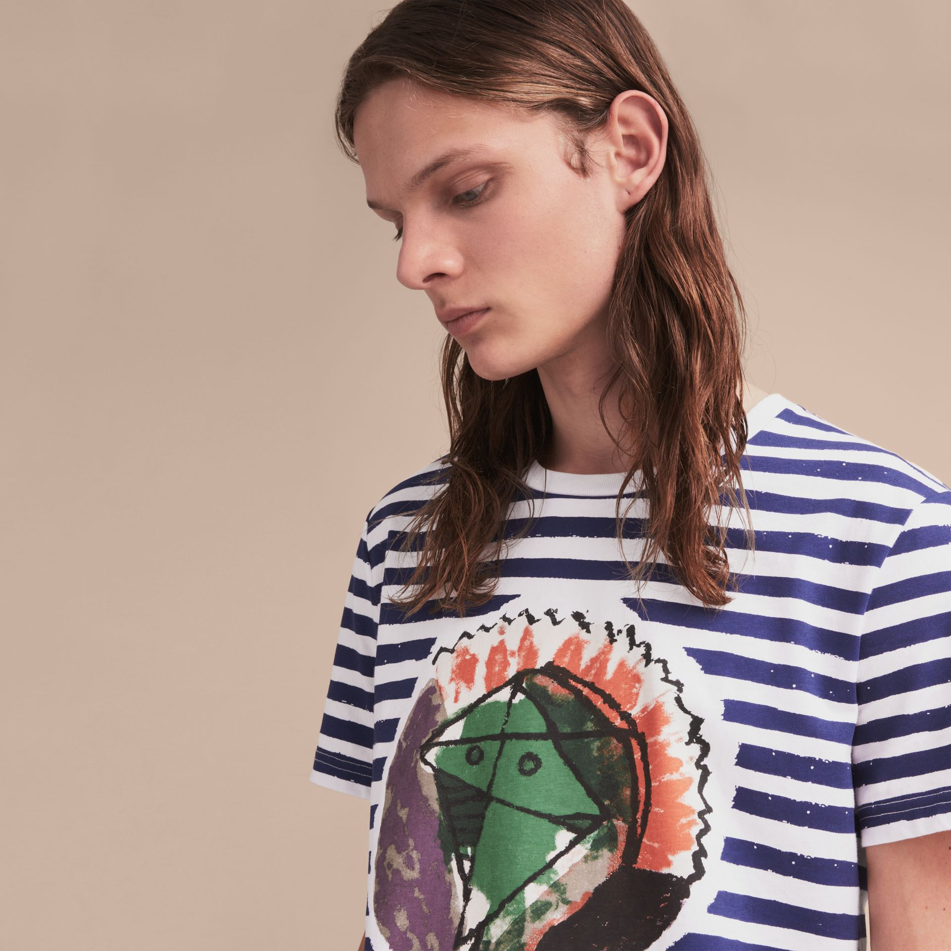 Pallas Heads Print Striped Cotton T-shirt in White - Men | Burberry - gallery image 5