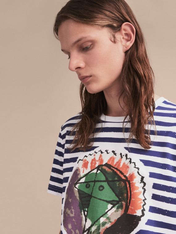 Pallas Head Print Striped Cotton T-shirt