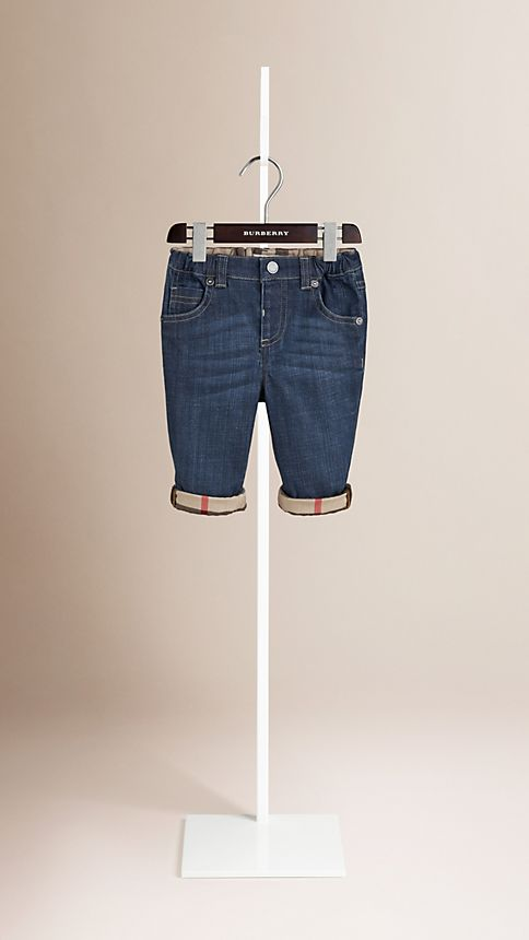 Blue Stretch Denim Jeans - Image 1