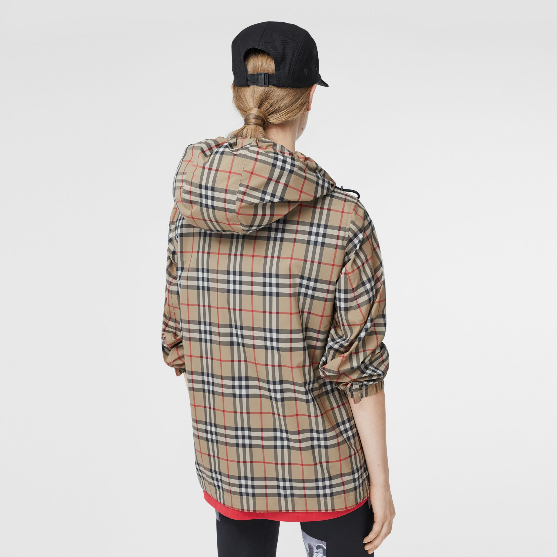 Vintage Check Recycled Polyester Hooded Jacket in Archive Beige - Women | Burberry - gallery image 2