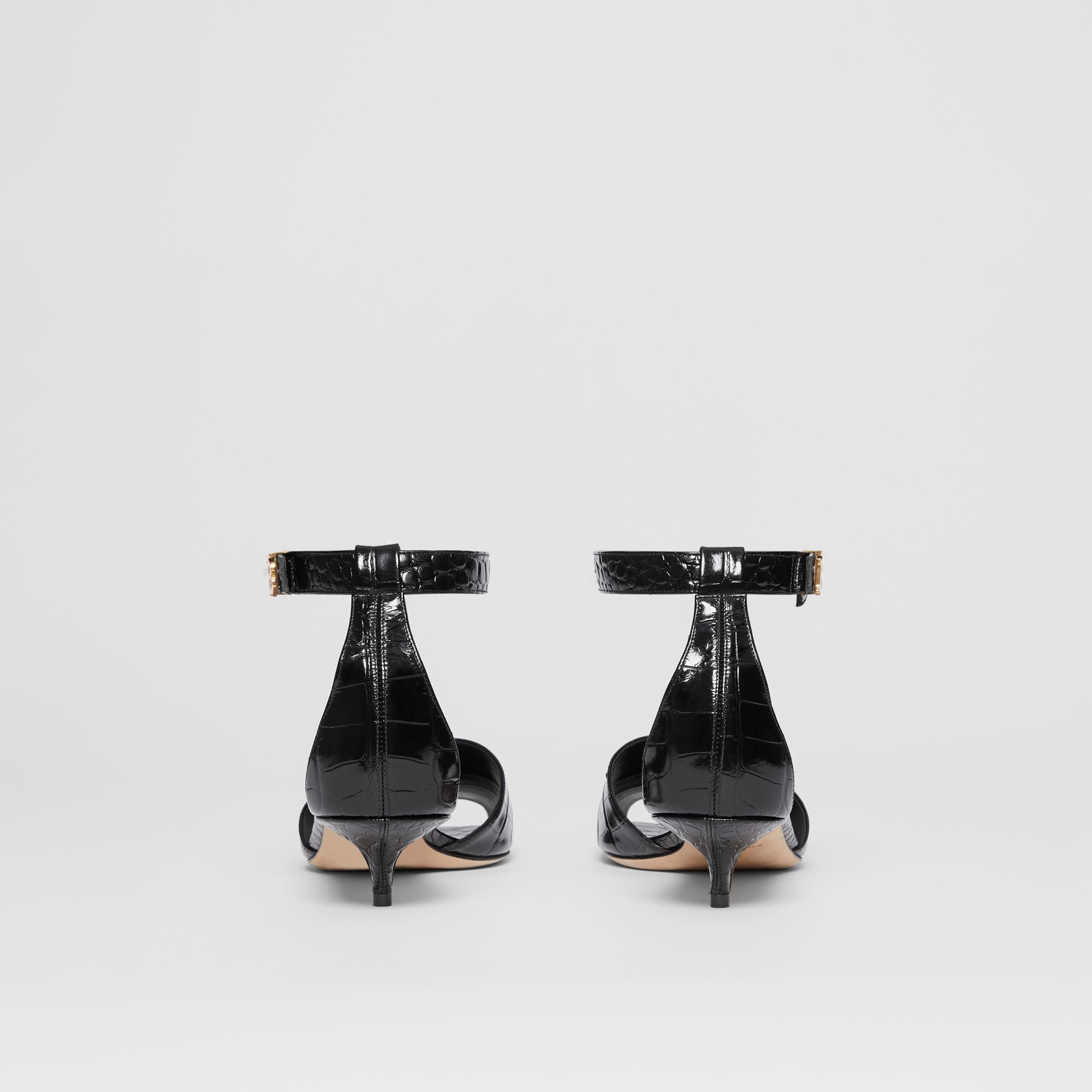 Monogram Motif Embossed Leather Sandals in Black - Women | Burberry - gallery image 3