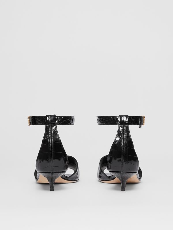 Monogram Motif Embossed Leather Sandals in Black - Women | Burberry - cell image 3