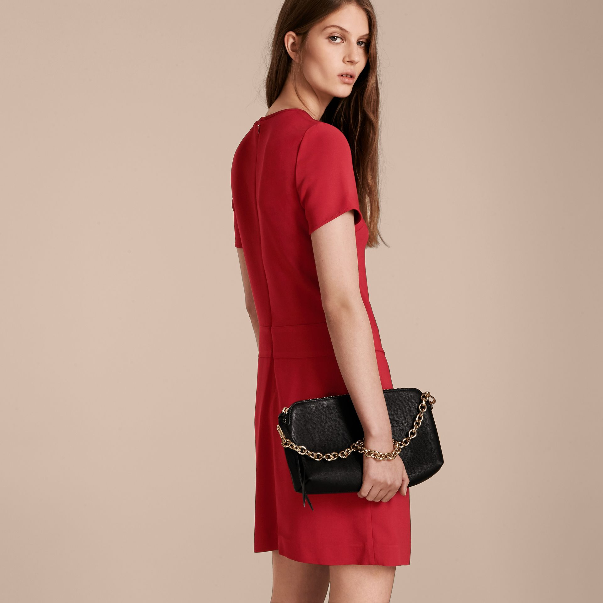 Buckle Detail Pleated Shift Dress in Parade Red - gallery image 3