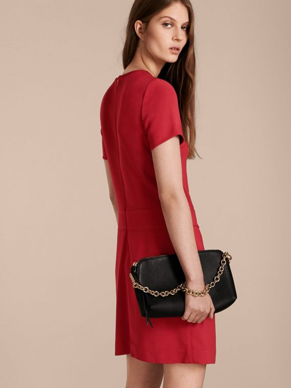 Buckle Detail Pleated Shift Dress in Parade Red - cell image 2