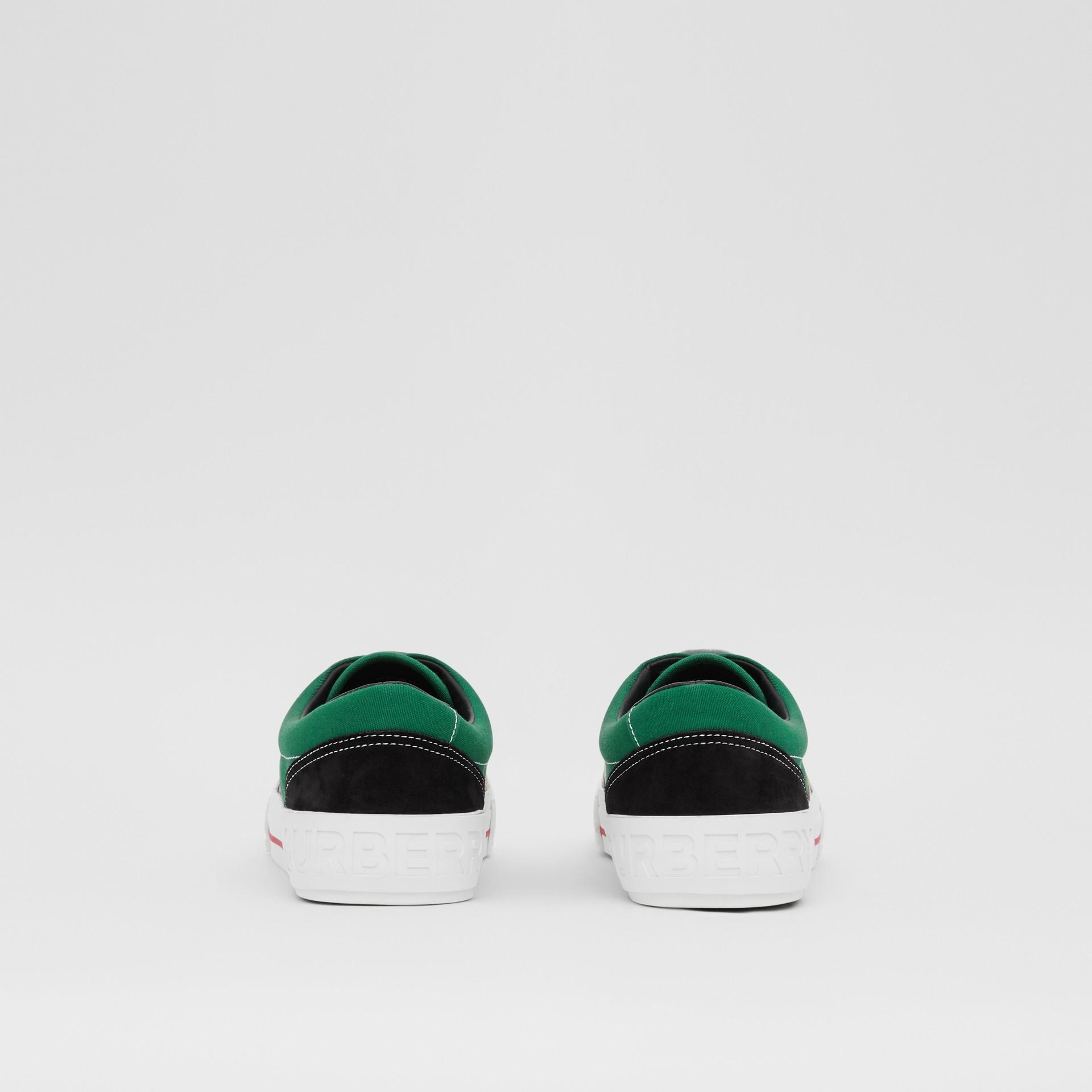 Sneakers en tissu Vintage check, toile de coton et cuir velours (Beige D'archive/vert) - Homme | Burberry - photo de la galerie 3
