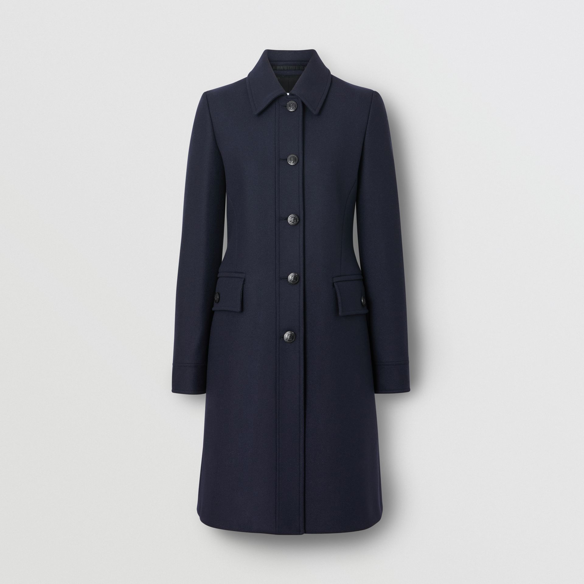 Double-faced Wool Cashmere Blend Coat in Navy - Women | Burberry United Kingdom - gallery image 2