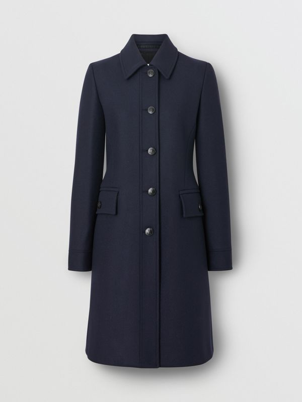 Double-faced Wool Cashmere Blend Coat in Navy - Women | Burberry - cell image 2
