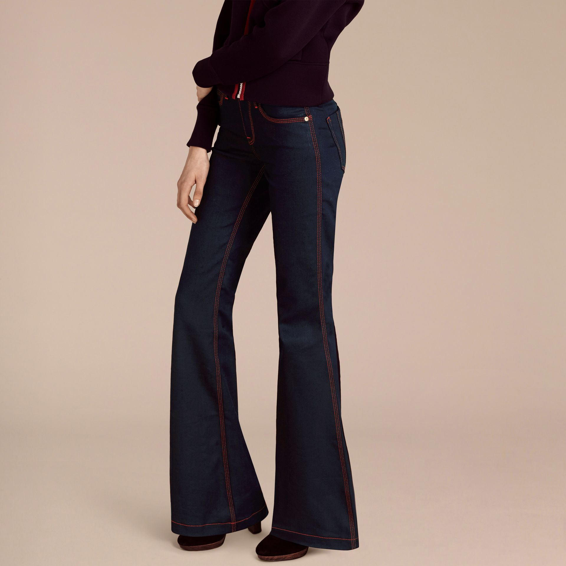 Indigo Flared Stretch Denim Jeans - gallery image 6