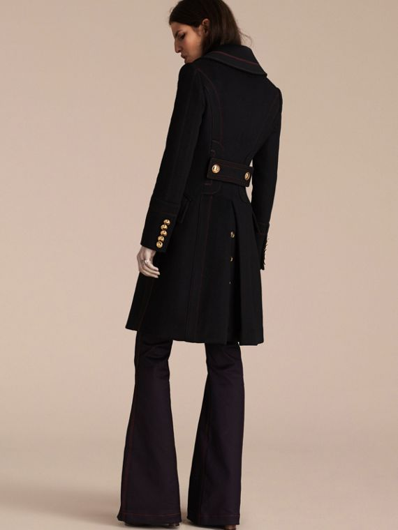 Black Wool Cashmere Military Coat - cell image 3
