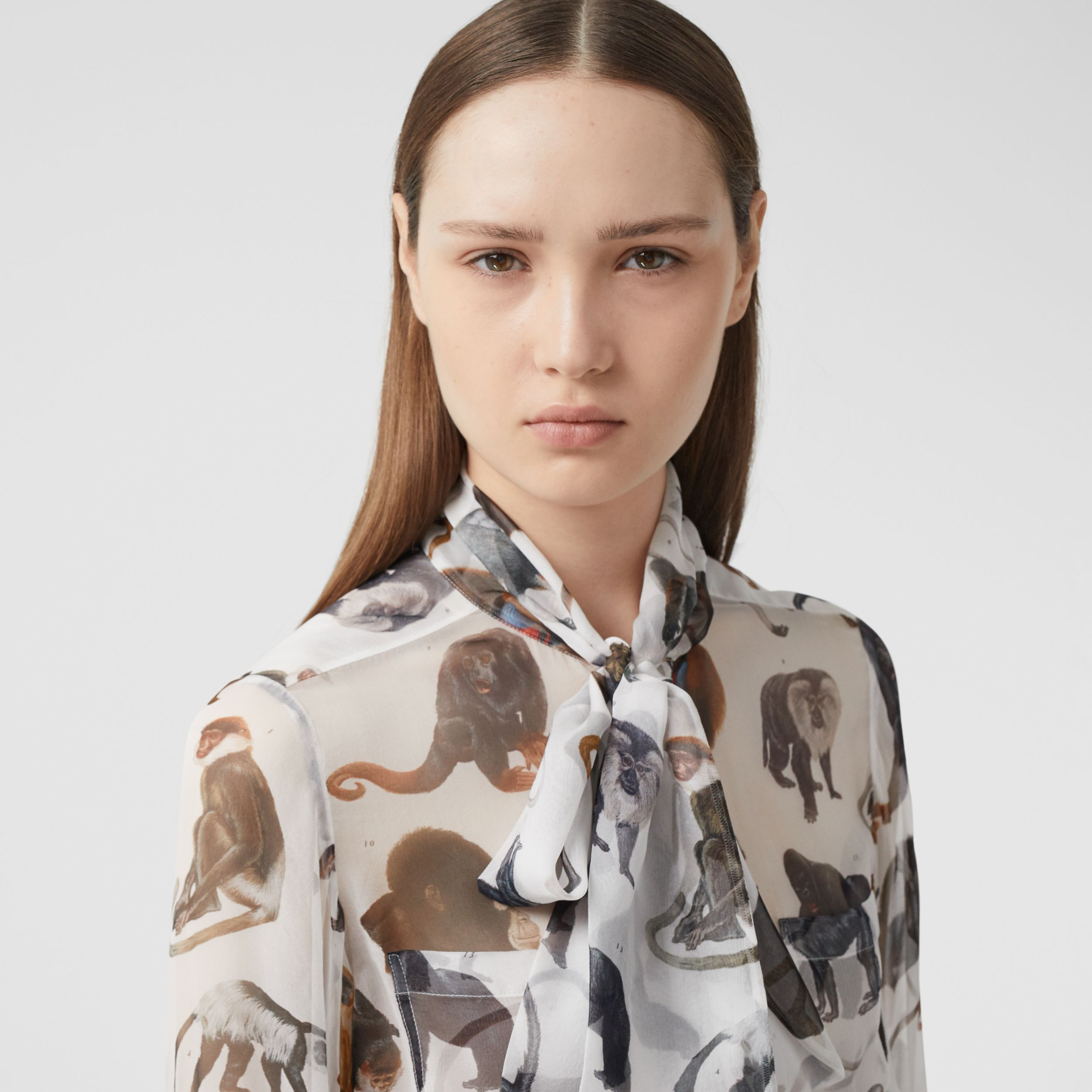 Monkey Print Silk Chiffon Pussy-bow Blouse in White - Women | Burberry - 2
