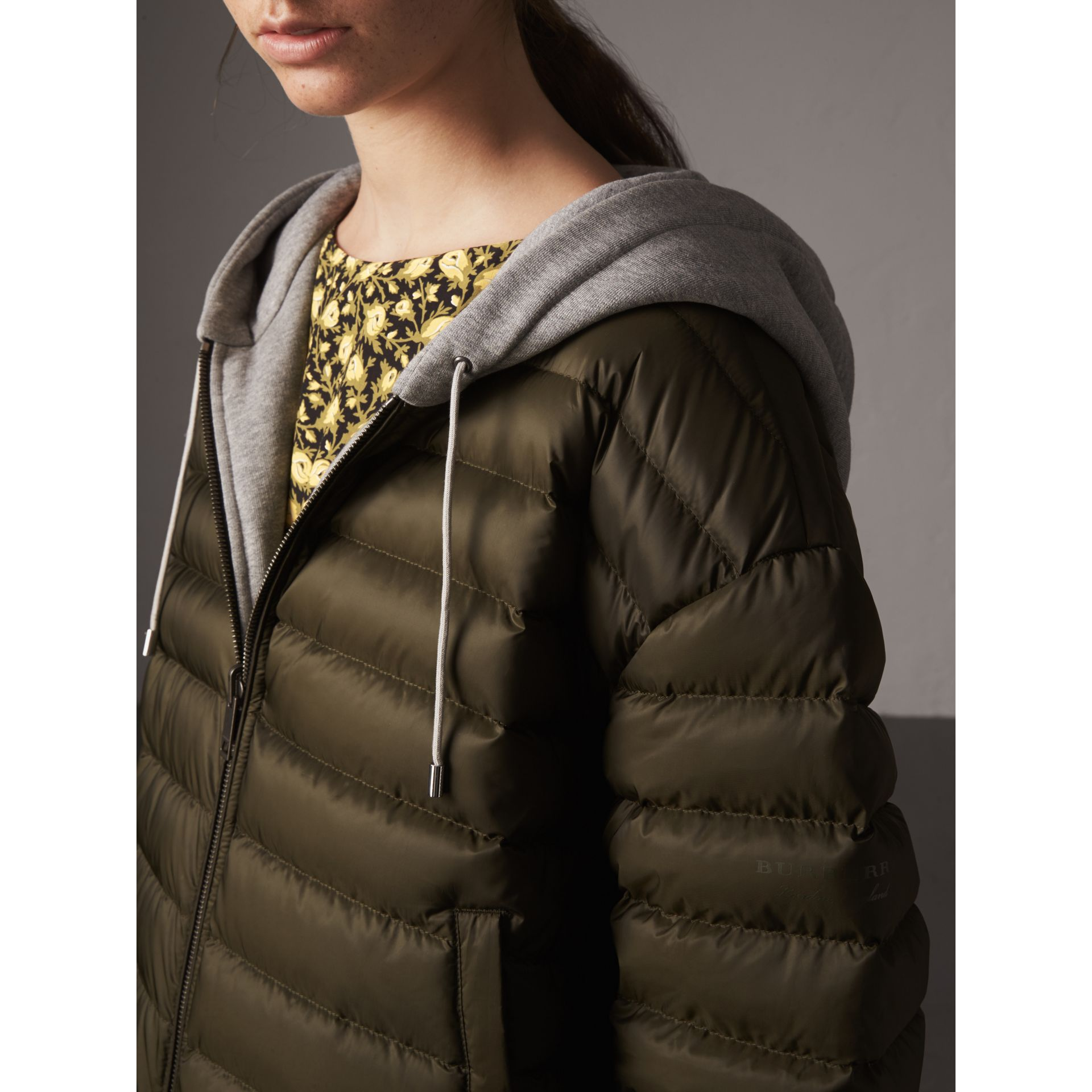 Reversible Down-filled Hooded Bomber Jacket in Olive - Women | Burberry - gallery image 2