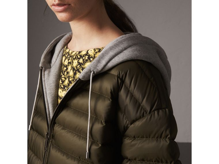 Reversible Down-filled Hooded Bomber Jacket in Olive - Women | Burberry Hong Kong - cell image 1