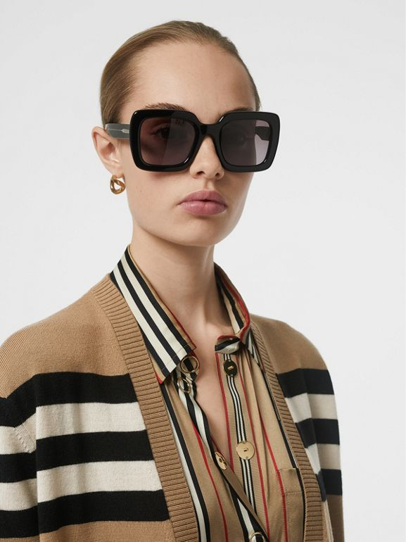 Icon Stripe Merino Wool Cardigan in Archive Beige - Women | Burberry United Kingdom - cell image 1