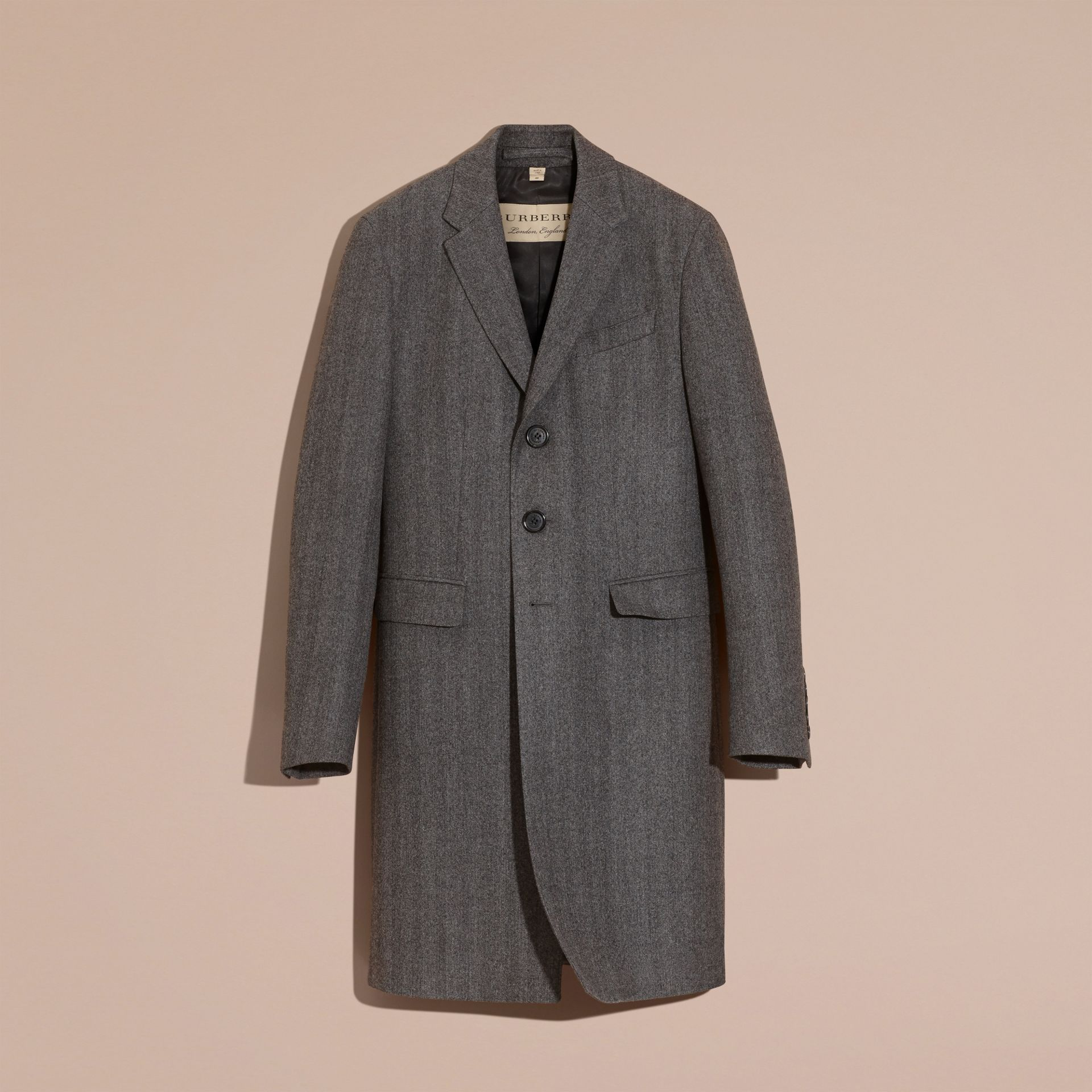 Mid grey Wool Herringbone Tailored Coat - gallery image 4