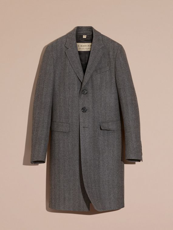 Mid grey Wool Herringbone Tailored Coat - cell image 3