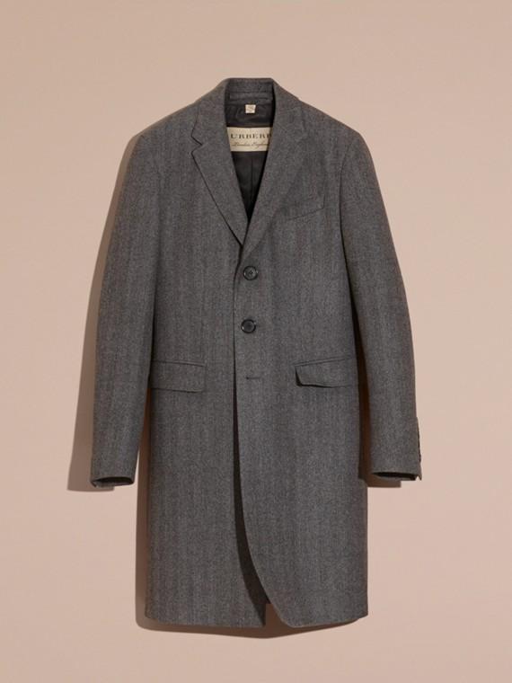 Gris moyen Manteau ajusté en laine à motifs chevrons - cell image 3