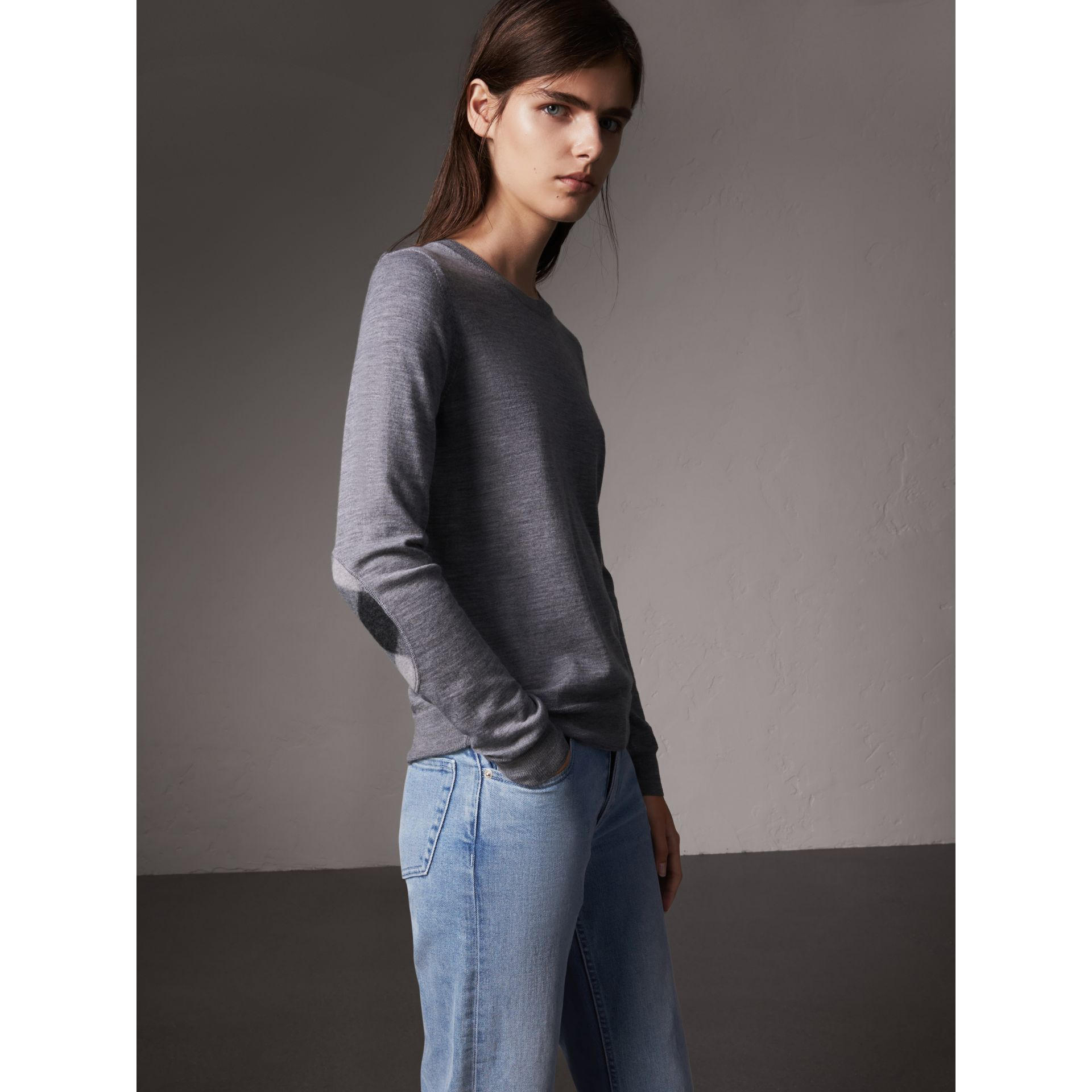 Check Detail Merino Wool Sweater in Mid Grey Melange - Women | Burberry United Kingdom - gallery image 0