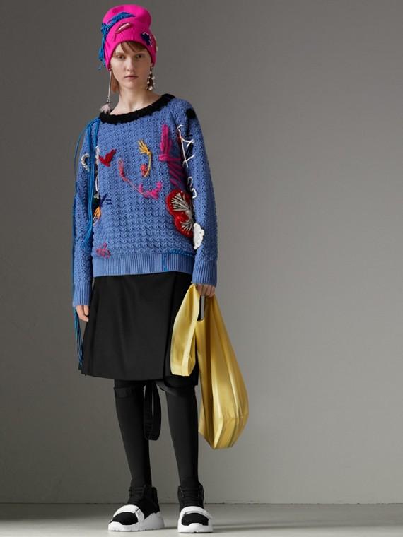 斜紋羊毛蘇格蘭裙 (黑色)