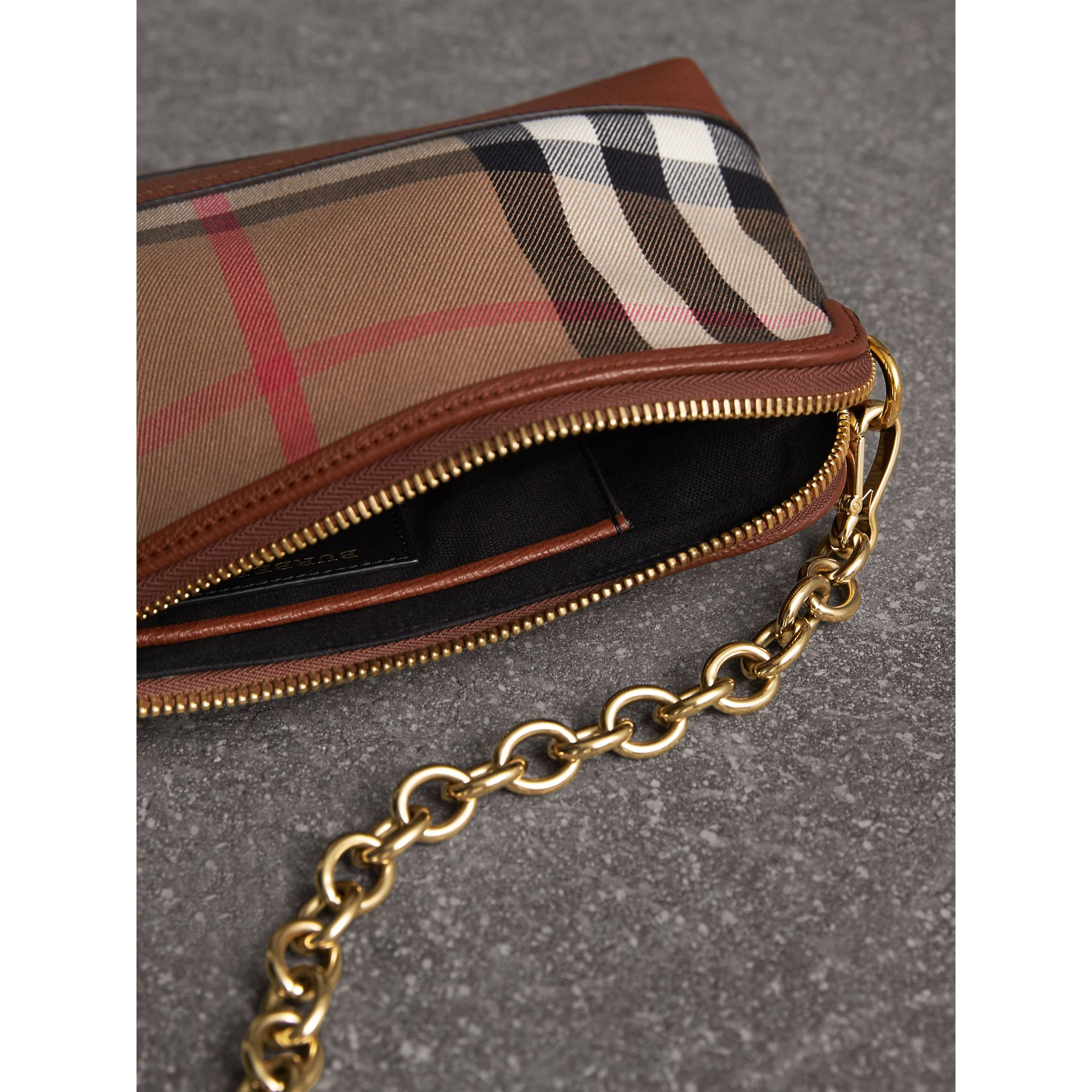 House Check and Leather Clutch Bag in Tan - Women | Burberry Canada - gallery image 6