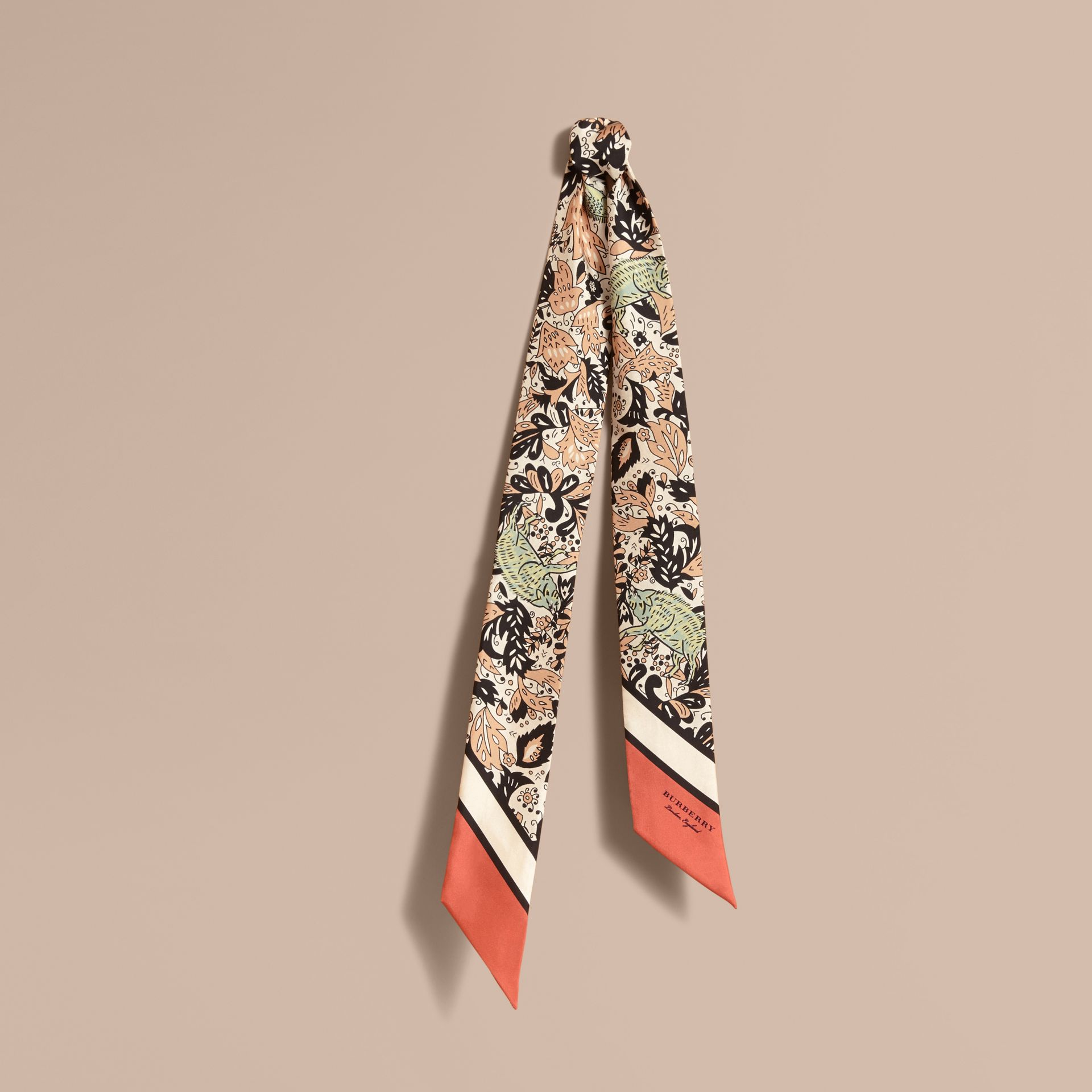 Beasts Print Silk Slim Scarf in Antique Taupe Pink - Women | Burberry - gallery image 1