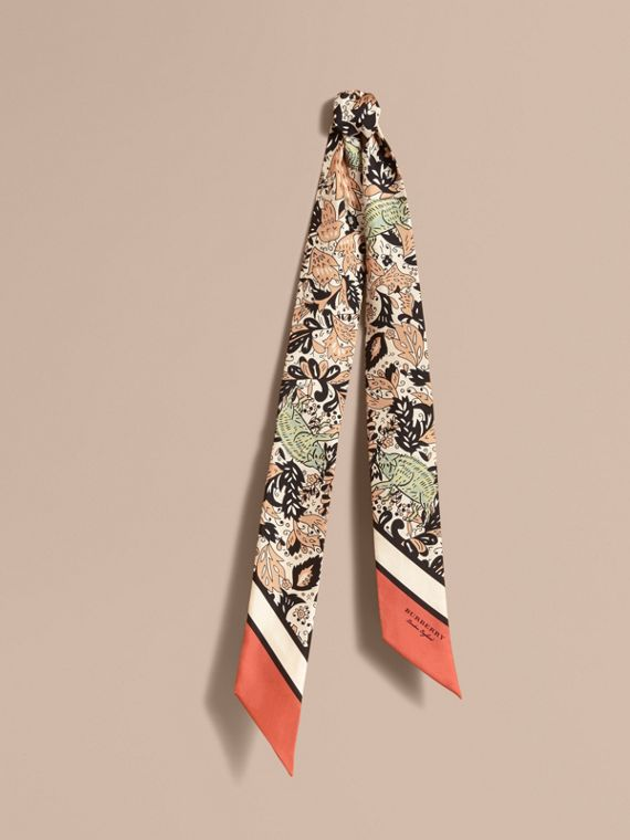 Beasts Print Silk Slim Scarf in Antique Taupe Pink