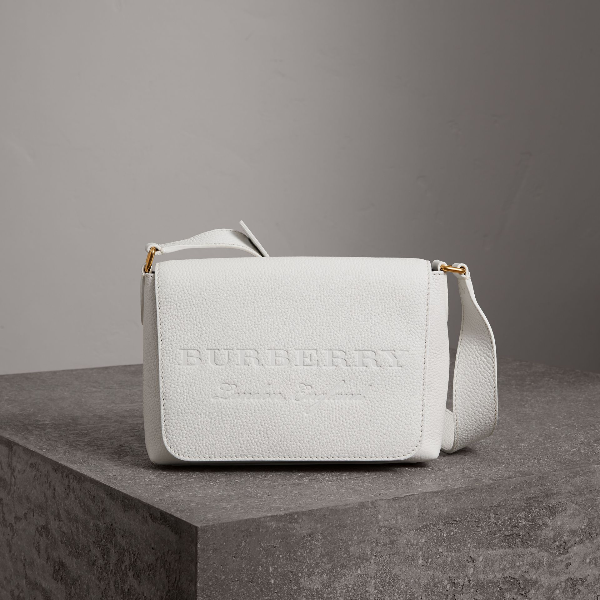 Small Embossed Leather Messenger Bag in Chalk White - Women | Burberry Singapore - gallery image 0