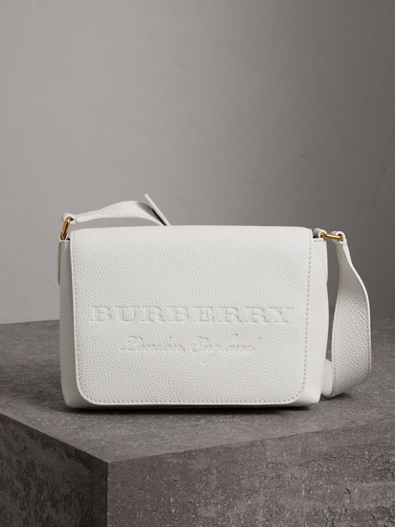 Small Embossed Leather Messenger Bag in Chalk White