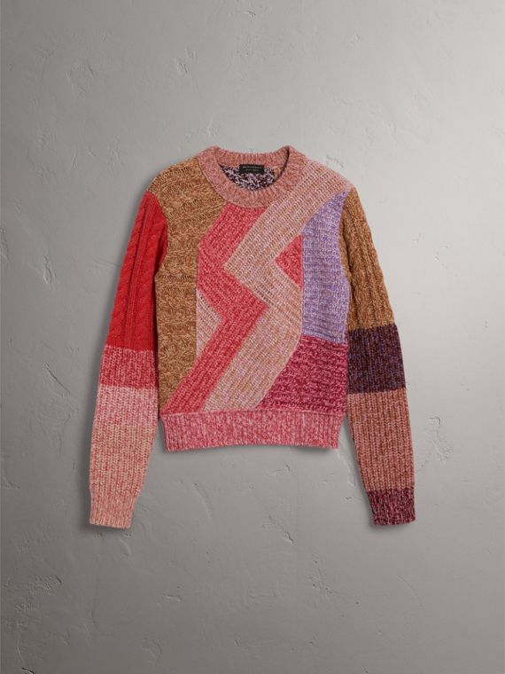 Cashmere-wool Mouliné  Patchwork Sweater in Multicolour - Women | Burberry - cell image 3