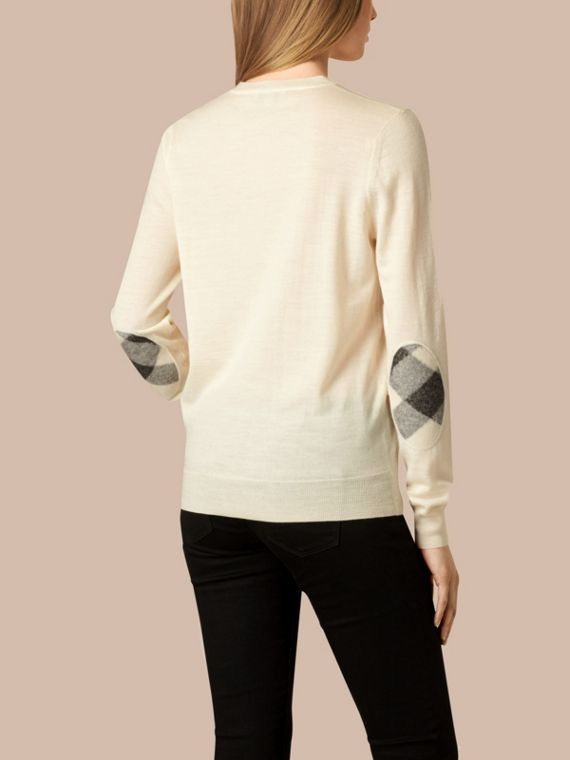 Natural white Check Detail Merino Crew Neck Sweater Natural White - cell image 2