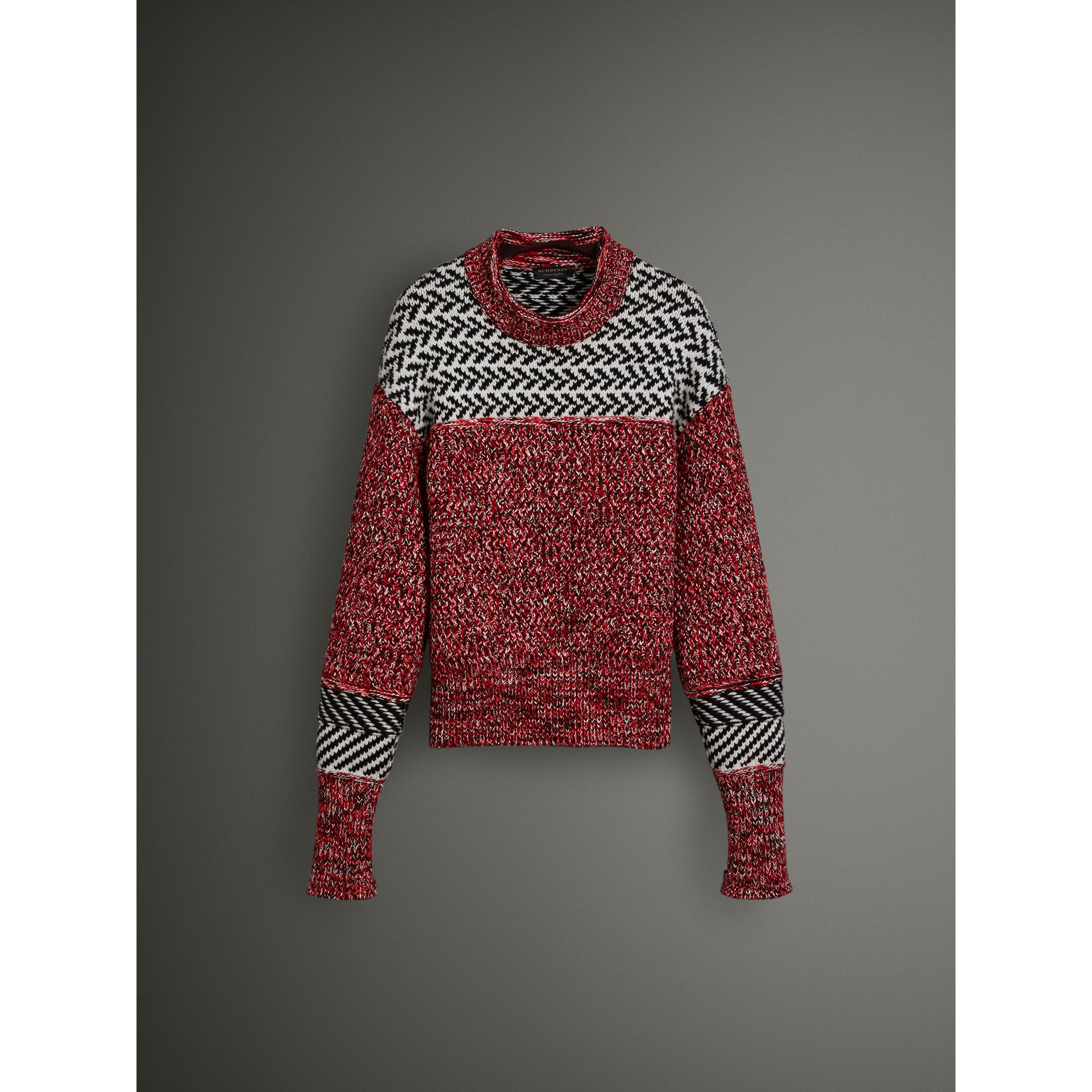 Geometric Cotton Wool Cashmere Mouliné Sweater in Red/black - Women | Burberry Canada - gallery image 3