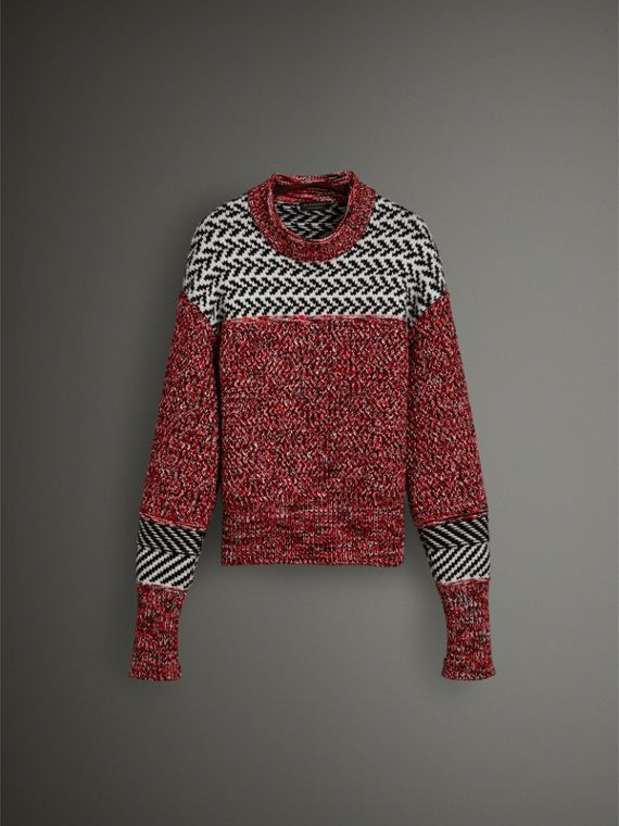 Geometric Cotton Wool Cashmere Mouliné Sweater in Red/black
