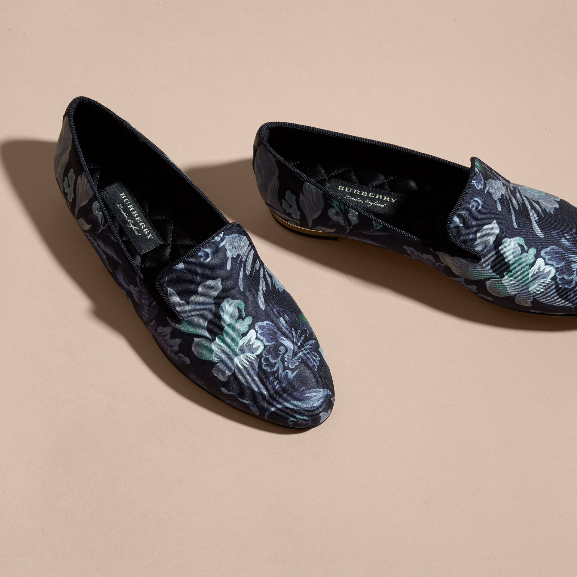 Navy Floral Print Silk Cotton Loafers - gallery image 3