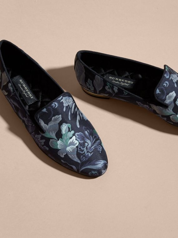 Navy Floral Print Silk Cotton Loafers - cell image 2