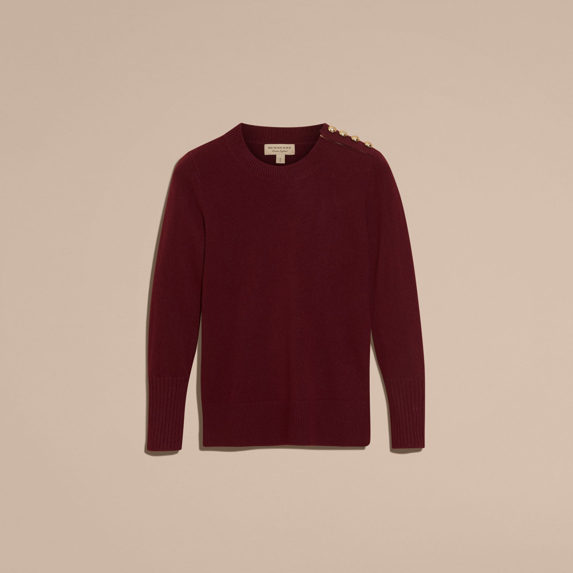 Cashmere Sweater with Crested Buttons in Mahogany Red - gallery image 4