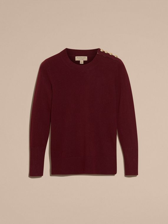 Cashmere Sweater with Crested Buttons in Mahogany Red - cell image 3
