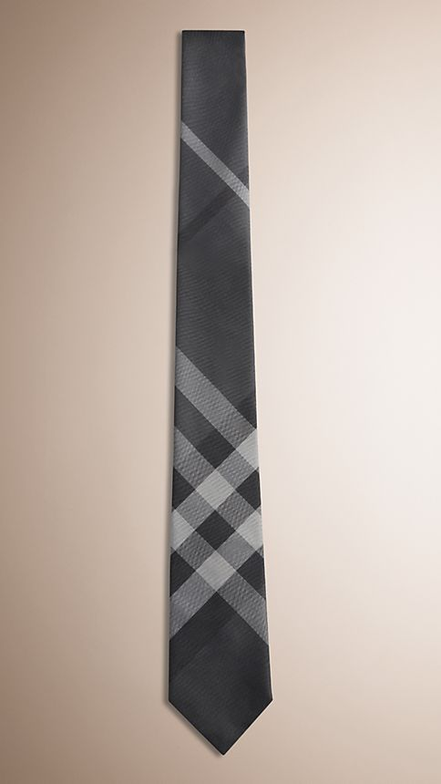 Dark charcoal Modern Cut Check Silk Tie - Image 1
