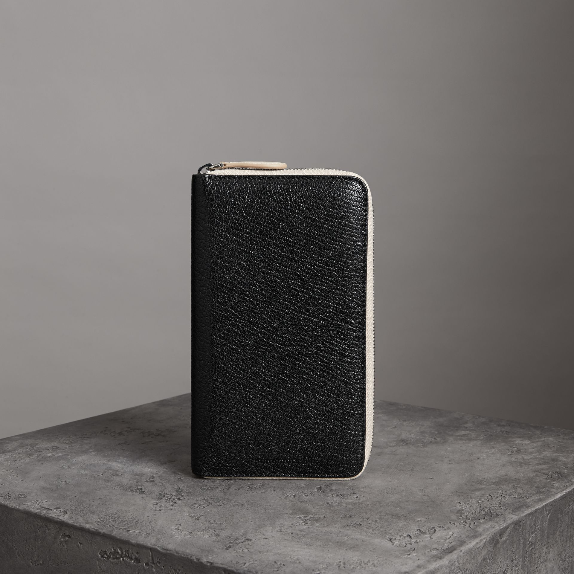 Two-tone Leather Ziparound Wallet in Black - Men | Burberry United Kingdom - gallery image 0